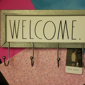 """Rae Dunn """"Welcome"""" Sign With Hooks -Rustic decor"""